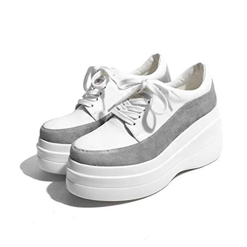 Confort Femme Creepers Chaussures noir Closed Blanc Sneakers Noir Shoeshaoge Toe qxvSCwt