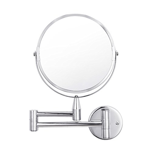 Vanity Magnifying Makeup Mirror Wall Mounted 1X/5X Magnification, Two-side, 360 Degrees Rotating Function, Chrome Finished for Bedroom Bathroom Hotel by FIRMLOC
