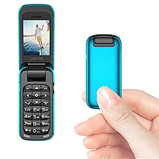 L8star BM60 Mini Flip Mobile Phone SIM+TF Card MP3 FM Radio Magic Voice Changer Bluetooth Dial 3.5 Earphone Jack Music Cellphone (Blue)