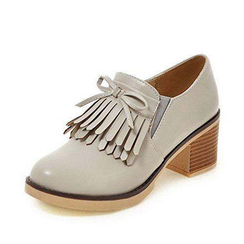 VogueZone009 Damen Ziehen auf Mittler PU Leder Rein Rund Zehe Pumps Schuhe Grau