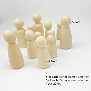 Amazoncom Baby Love Home 20pcs Wooden Peg Doll Unfinished Wooden
