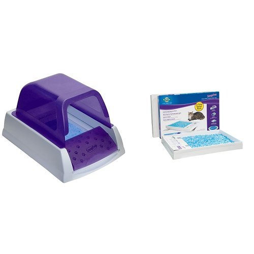 ScoopFree Ultra Self Cleaning Litter Box - Purple and ScoopFree Litter Tray Refills with Premium Blue Crystals - 3-Pack Bundle by PetSafe