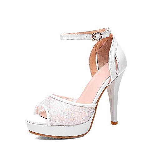 Amoonyfashion Kvinnor Peep Tå Spikar Stiletter Mjukt Material Fast Spänne Sandaler Vit