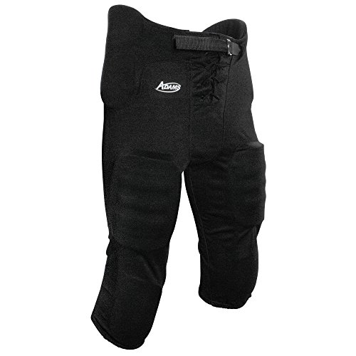Adams Youth Football Practice Pant with Sewn In Pad-(7 piece pad set) (Black, ()