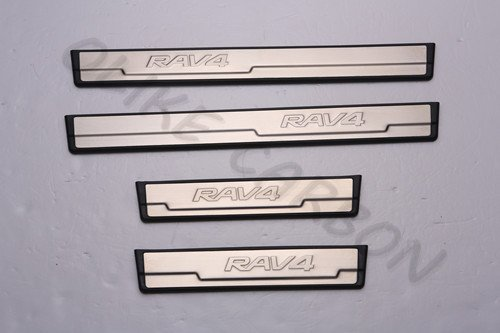 For Toyota RAV4 2014 15 16 2017 Fashion Style Stainless Steel Door Sill Scuff Plate Guard Sills Protector Trim
