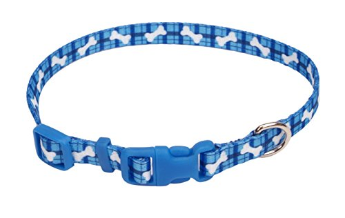 Adjustable Dog Bone Collar (Pet Attire Styles Plaid Bones Adjustable Dog Collar Size from 8 to12 Inches with a Width of 3/8 in.)