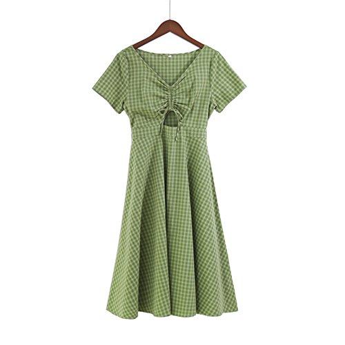 主張する慢性的承認するKAMITOSHI チェックドレス レディース 姉妹服 chic 体型カバー ベルト ワンピース グリーン