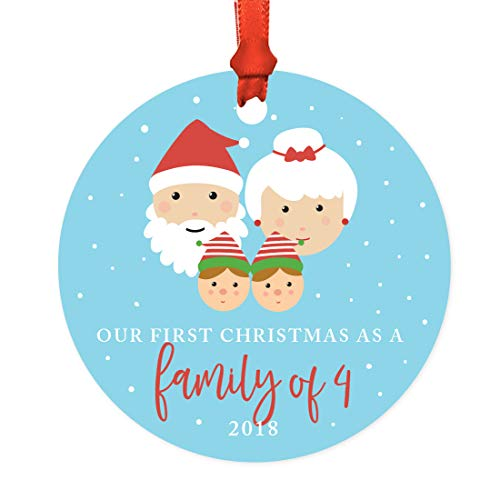 Andaz Press Family Metal Christmas Ornament, Our First Christmas as a Family of Four 2018, Santa and Mrs. Claus with Elf, 1-Pack, Includes Ribbon and Gift Bag, Newborn New Baby Mom Dad Xmas Present -  APP12147