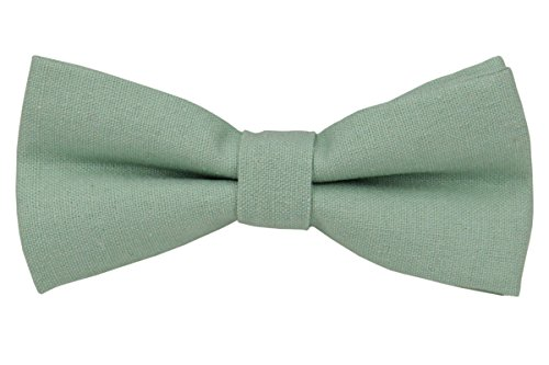 Cotton Linen Tie (Mens Charm Solid Linen Bowtie - Various Colors (Mint Green))