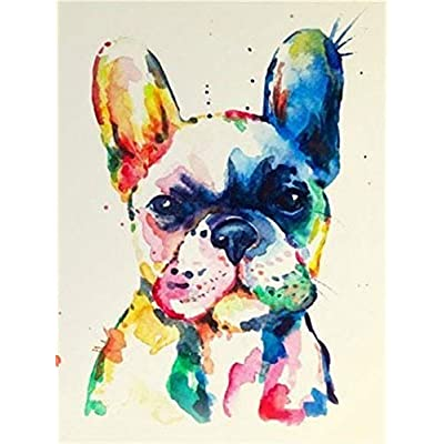 Paint by Number Kits - Colorful Dog 16x20 Inch Linen Canvas Paintworks - Digital Oil Painting Canvas Kits for Adults Children Kids Decorations Gifts (No Frame) [5Bkhe0301247]