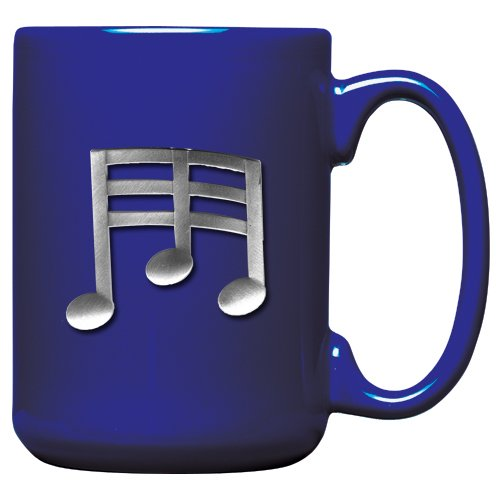 Music Pewter - 1pc, Pewter Music Note Coffee Mug, Cobalt