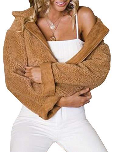 Missy Chilli Women's Faux Lambswool Lapel Jacket Warm Zipper Outwear Basic Coat Khaki 10