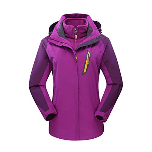 (TIFENNY Women's Outdoor Mountaineering Suit Outfit Two Piece Three in One Warm Waterproof Breathable Coat)