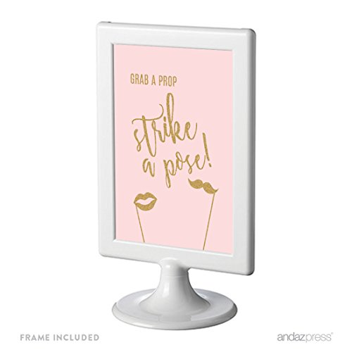 Andaz Press Blush Pink Gold Glitter Print Wedding Collection, Framed Party Signs, Grab a Prop & Strike a Pose Photobooth Sign, 4x6-inch, 1-Pack, Includes Frame (1 Gold Framed Print)
