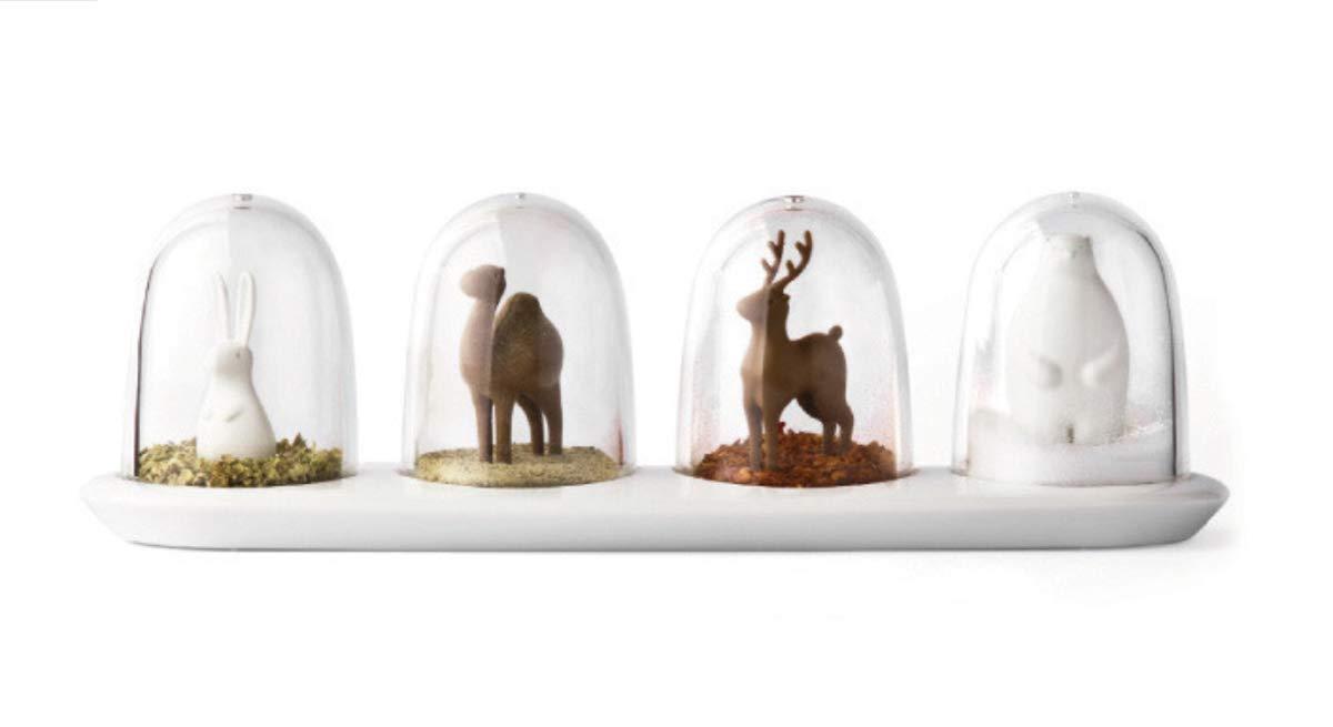 Kitchen Seasoning Jar, Seasoning Shaker, Animal Parade Design, 4 in 1