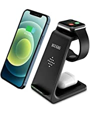 Wireless Charging Stand, IGUGIG 3 in 1 Wireless Charger Fast Charging Dock Station for iPhone 12/12 Pro/12 Pro Max/11/11 Pro/X/Xr/Xs/8 Plus,Compatible with iWatch 6 SE 5 4 3 2, Airpods 2/Pro and More