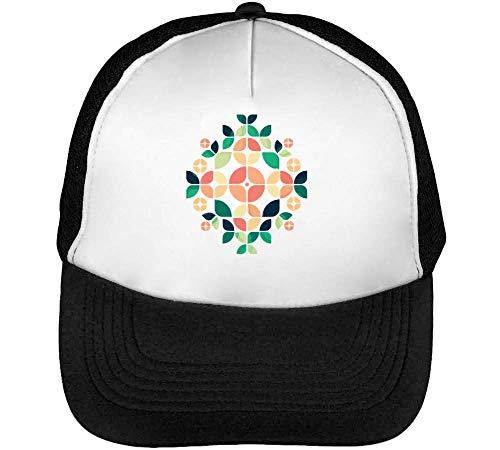 Hombre Beisbol Blanco Minimal Flower Gorras Pattern Snapback Negro 7pBqWXtwc