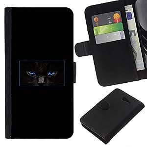 EJOY---La carpeta del tirón la caja de cuero de alta calidad de la PU Caso protector / Sony Xperia M2 / --Minimalista Gato Negro misterioso