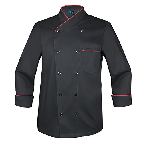 10oz apparel Twill Snap Front Chef Coat Long Sleeve Black/Red Piping S