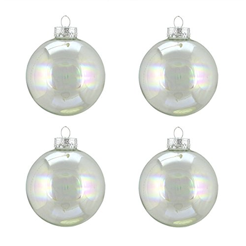 (Northlight 4ct Clear Iridescent Glass Ball Christmas Ornaments 3