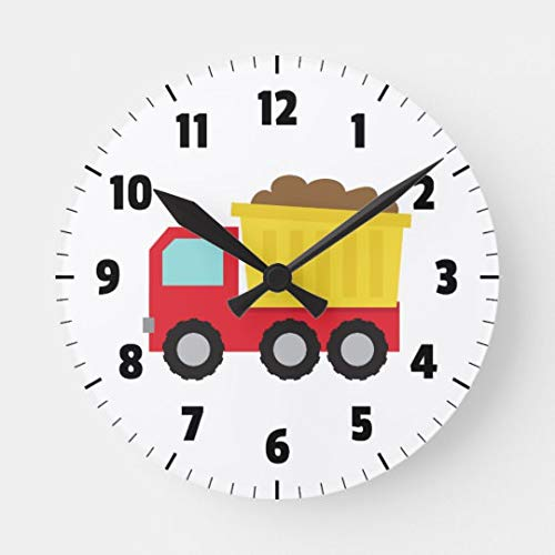 Moonluna Cute Dump Truck Construction Vehicle Boys Room Wall Clock Decorative Small Silent Non-Ticking Wooden Clock 10 inches