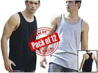 Andrew Scott Men's 12 Pack Cotton Workout Tank Top