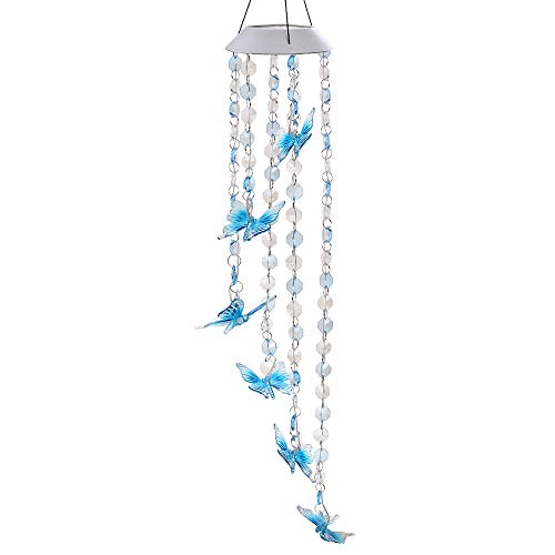 Solar Mobile Bead Wind Chime, Color Changing LED Solar Wind Chime Solar Powered LED Hanging Lamp Wind Chime Light Wind Chimes for Outdoor Indoor Gardening Lighting Decoration Home (Butterfly)