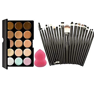 Legros8 Professional 15 Colors Makeup Palette Concealer Cream Makeup Brush Puff Set Concealers & Neutralizers