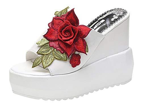 ACE SHOCK Women Wedge Sandals High Heel Peep Toe Flower Studded Fashion Outdoor Platform Slippers (5.5, Slippers White)