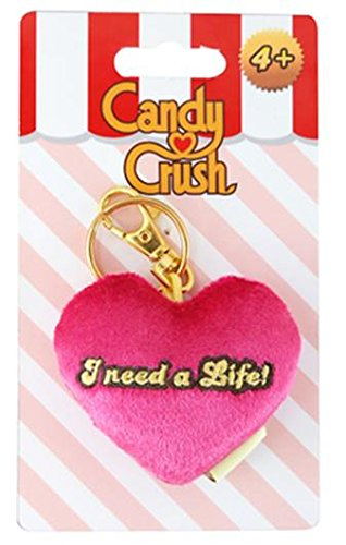 Candy Crush Sega Plush Keychain Clip - Pink Heart I Need a Life (Commonwealth Games Costumes)