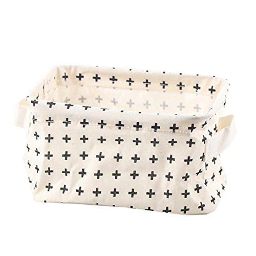 Daoroka Storage Basket,Cotton Linen Desktop Storage Basket Sundries Storage Box With Handle