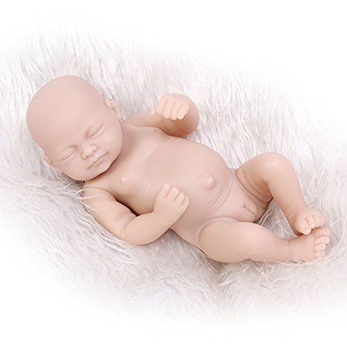 (Funny House Unpainted 10 Inch / 26cm Full Body Silicone Soft Vinyl Real Looking Reborn Baby Doll Kit Lifelike Newborn Girl Dolls Kit)