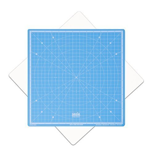 Cutting Mat, Self Healing Cutting Mat, Hobby Cutting Mat, Sewing Cutting Mat, Rotatable Cutting Mat Imperial 13 inch x 13 inch - Sky Blue by ANSIO