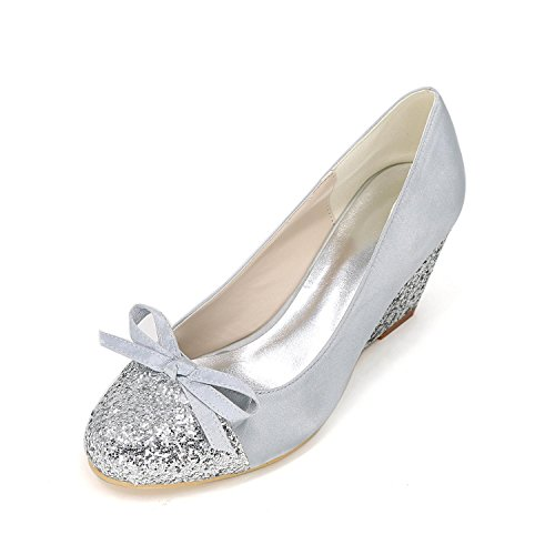 L@YC Women's Heels Spring Summer Fall Winter Comfort Novelty Silk slope with Wedding Party & Evening Stiletto Silver fpdoyM5Zn