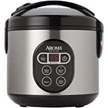 8-Cup Digital Rice Cooker and Food Steamer Includes Steam Tray, Removable Inner Lid, Measuring Cup and Serving Spatula by Aroma