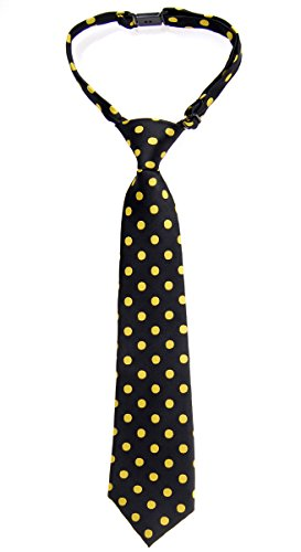 Retreez Classic Polka Dots Woven Microfiber Pre-tied Boy's Tie - Black with Yellow Dots - 24 months - 4 years