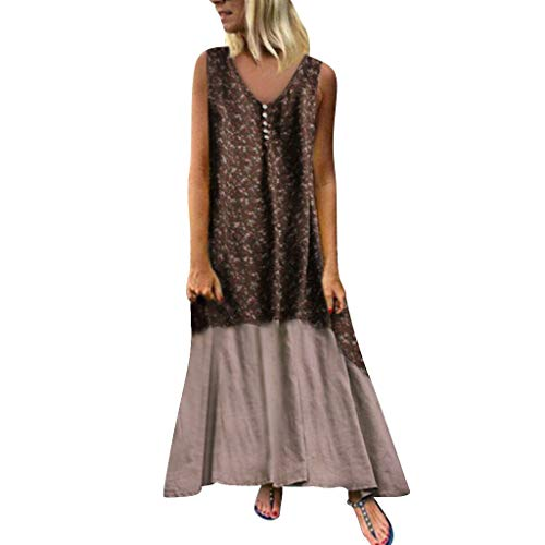 - iBOXO Bohemian Cotton Linen Printed Buttons Casual Loose Holiday Big Swing Beach Dress(Brown,XXXXXL)