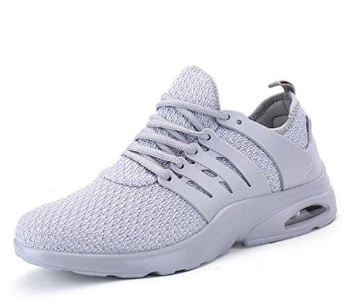 De malla ligera de aire atlético cojín Running Tenis transpirable cómodo de baloncesto de encaje zapatos de los hombres UE tamaño 39-44 Grey