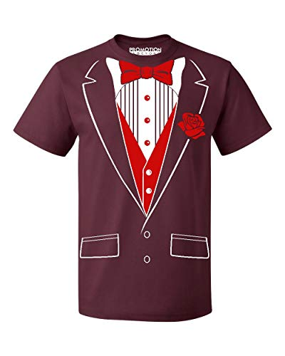 P&B Tuxedo Red Rose Funny Men's T-Shirt, XL, Maroon ()