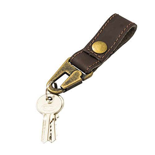 Rustic Leather Key Ring Holder Handmade by Hide & Drink :: Espresso