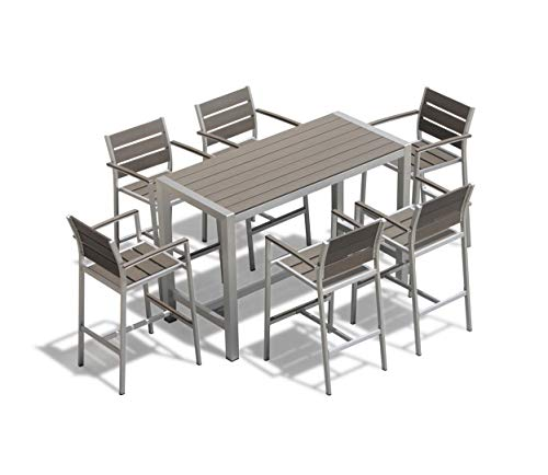 Outdoor Patio Wicker Furniture New Aluminum Resin 7-Piece Dining Bar Table & Barstool Set (Furniture Direct Patio Factory)