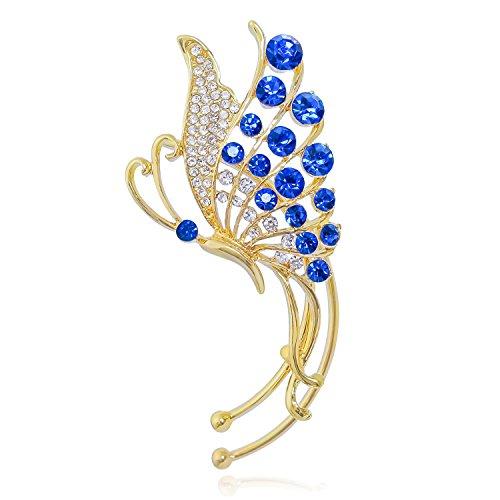 (Unique Jewelry Gold-Tone Crystal Art Deco Butterfly Ear Wrap Ear Cuff Earrings Left Side)