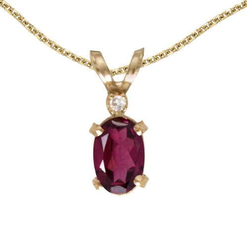 0.49 Ct Princess Shape - 0.49 Carat (ctw) 14k Yellow Gold Oval Red Rhodolite-Garnet and Diamond Women's Solitaire Pendant with 18