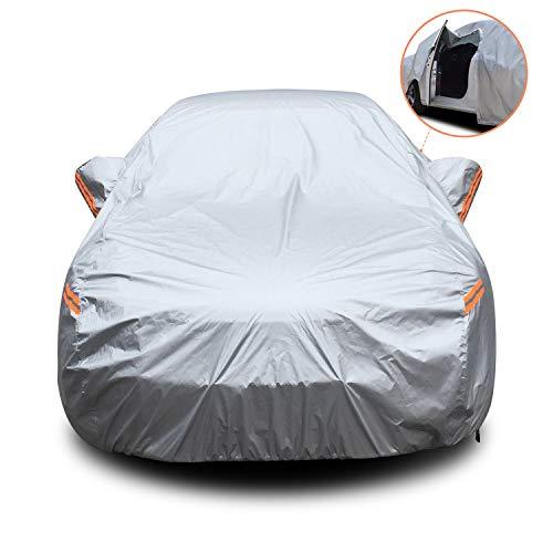 🥇 YIBEICO Funda para Coche Exterior Impermeable Cubierta de Protección Automóvil con Raya Zip/Fluorescente