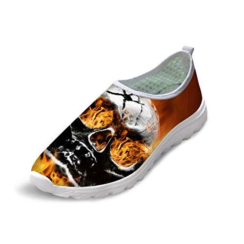 Bigcardesigns 3d Cool Effrayant Crâne Brûlant Chaussures De Course Sneakers Léger Crâne 2