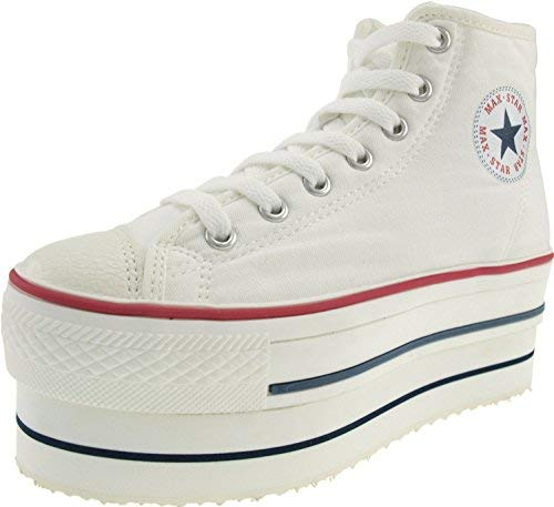 (Maxstar Women's CN9 7 Holes Double Platform Canvas High Top Sneakers White 6.5 B(M))