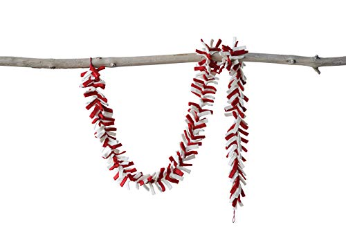 Creative Co-Op 72 Inch Wool Felt Garland with Fringe, Red & Cream, Multicolor