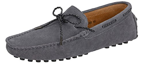 Abby 9388 Mens Slip-on Cloed toe Comfort Casual Natty Loafers Smart Driving Leather Sneakers Grey 6ygDpj