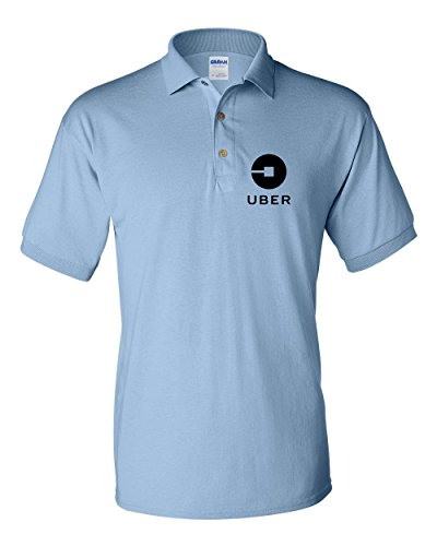 Uber Driver New Logo Men's Gildan Jersey Sport Polo T Shirt   Light Blue W/ Black