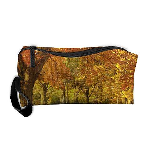Kla Ju Portable Pen Bag Purse Pouch Autumn Yellow Trees Stationery Storage Organizer Cosmetic -
